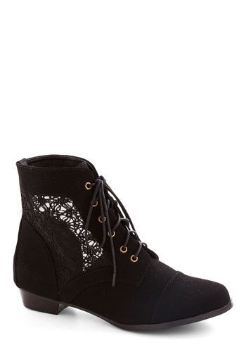Mesh Well Together Bootie - Black, Solid, Cutout, Lace Up, Low, Sheer, Faux Leather, Good, Lace, Lace, Festival