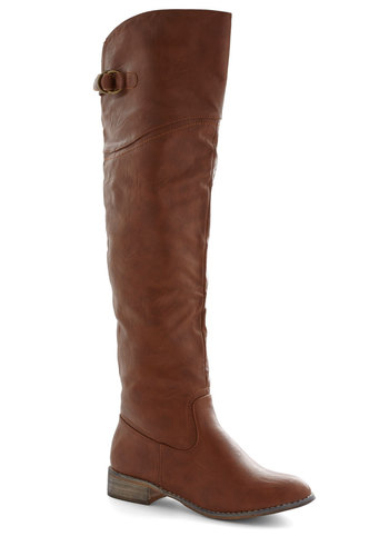 Enjoyable Energy Boot in Maple - Faux Leather, Tan, Solid, Buckles, Low, Good, Minimal, Variation