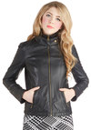 Roadster It Up Jacket by Steve Madden - Black, Solid, Pockets, Quilted, Long Sleeve, Good, Short, Faux Leather, 2, Exposed zipper, Urban, Casual, Girls Night Out, Menswear Inspired, Vintage Inspired, Black, Long Sleeve, Gifts Sale, Winter