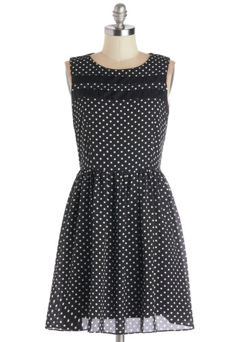 Light Up Night Dress - Black, Polka Dots, Casual, A-line, Sleeveless, Good, Scoop, Woven, Mid-length, Sheer, White