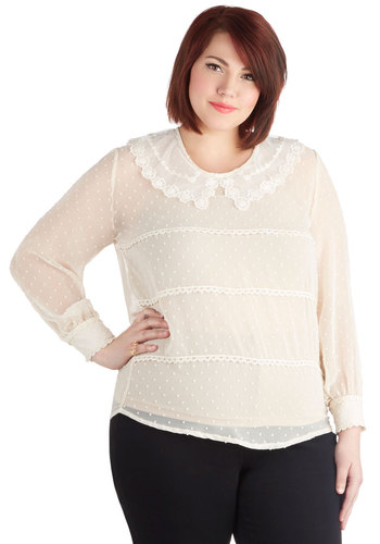 Cupcake Headliner Top in Plus Size - Chiffon, Sheer, Woven, White, Solid, Embroidery, Work, Long Sleeve, Collared