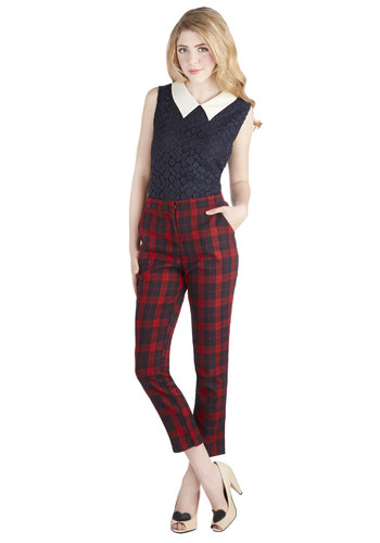 Gist a Minute Pants - Woven, Red, Blue, Plaid, Pockets, Work, Cropped, Skinny, Winter