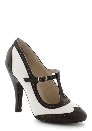 Speakeasy Does It Heel in Black - High, Black, White, Solid, Party, Vintage Inspired, 20s, 30s, T-Strap