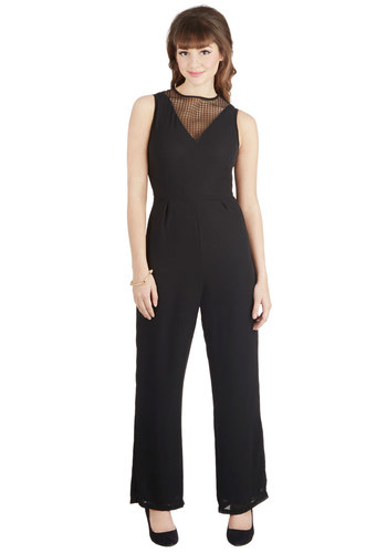 En Pointe of View Jumpsuit - Sheer, Woven, Long, Solid, Girls Night Out, Vintage Inspired, Statement, Good, Crew, Full length, Black, Sleeveless, Black, Pleats, Sleeveless, Non-Denim, Jumpsuit, 90s, Fall, Winter