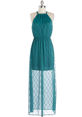 Saratoga Party Dress - Long, Sheer, Woven, Blue, Solid, Casual, Maxi, Sleeveless, Better, Chiffon