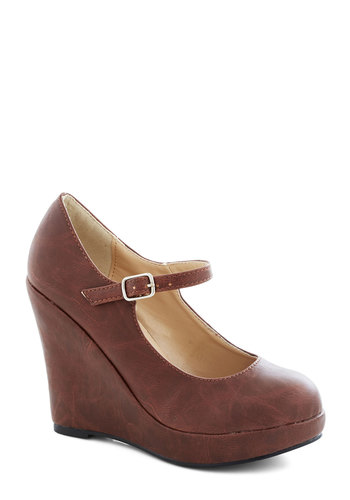 Walk with Confidence Wedge in Chestnut - High, Faux Leather, Brown, Solid, Daytime Party, Wedge, Mary Jane, Platform, Variation, Basic, Gifts Sale