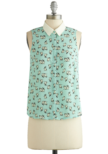 Dog Trainer Top - Mint, White, Print with Animals, Casual, Sleeveless, Collared, Woven, Chiffon, Sheer, Mid-length, Spring, Pastel, Green, Sleeveless