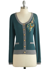 Plume and Bloom Cardigan by Nick & Mo - Green, Grey, Solid, Buttons, Embroidery, Long Sleeve, Better, Green, Long Sleeve, Knit, Short, Pockets, Scoop