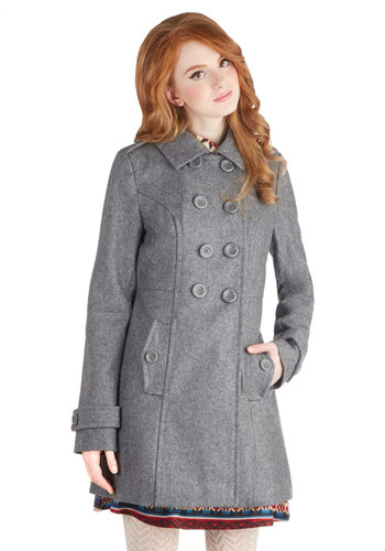 Soup Sourcing Coat - Long, Grey, Solid, Buttons, Pockets, Military, Double Breasted, Long Sleeve, Good, Collared, Grey, Long Sleeve, 3, Epaulets, Gifts Sale