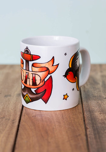 The Parent Tat Mug in Dad by One Hundred 80 Degrees - Multi, Rockabilly, Good, Novelty Print, Variation, Guys, Top Rated