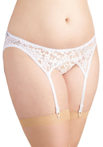 Evening Outing Garter Belt and Thong Set in White - Plus Size - White, Solid, Lace, Bride, Lace