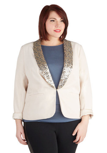 Light Up the Office Blazer in Plus Size by BB Dakota - Woven, Cream, Silver, Gold, Solid, Pockets, Sequins, Party, Cocktail, Holiday Party, Long Sleeve