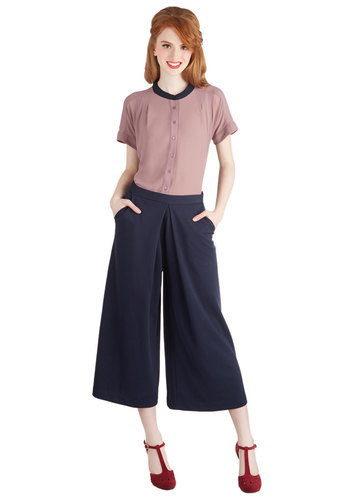 Blogger Conference Pants - Knit, Blue, Solid, Pockets, Work, Nautical, Vintage Inspired, 70s, Better, Mid-Rise, Capri, Blue, Cropped, Wide Leg, Non-Denim