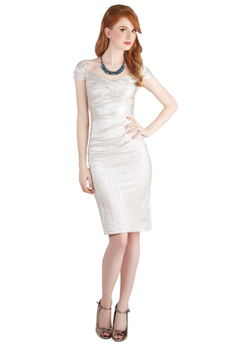 Bling in a New Year Dress in Silver by Stop Staring! - Silver, Solid, Cocktail, Holiday Party, Sheath / Shift, Cap Sleeves, Better, Sweetheart, Knit, Mid-length, Party, Vintage Inspired