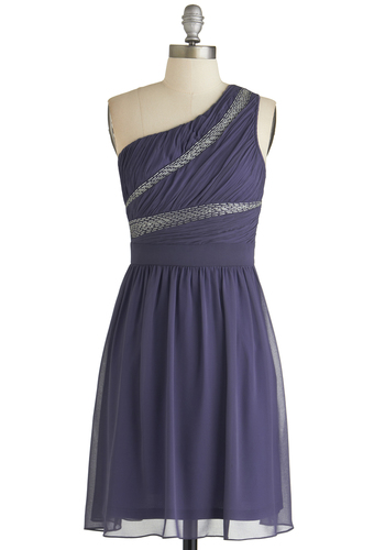 Scholarship Banquet Dress - Purple, Solid, Embroidery, Party, A-line, One Shoulder, Good, Chiffon, Woven, Short, Beads, Prom, Bridesmaid
