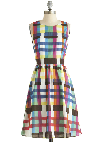Swatch and Listen Dress - Multi, Plaid, Casual, A-line, Sleeveless, Scoop, Cotton, Woven, Long