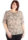 Floral Arranging Finals Top in Plus Size by BB Dakota - Chiffon, Sheer, Woven, Cream, Black, Floral, Tie Neck, Short Sleeves