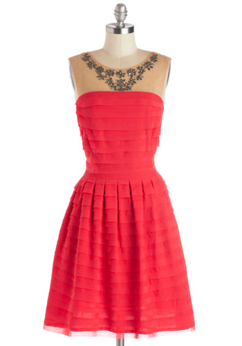 Sangria Soiree Dress - Red, Tan / Cream, Ruffles, Cocktail, Holiday Party, Sleeveless, Scoop, Sheer, Woven, Mid-length, Rhinestones, Better, Party, A-line