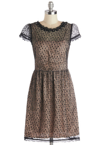 Yacht Couture Dress - Tan / Cream, Black, Cutout, Lace, Rhinestones, Party, Holiday Party, A-line, Cap Sleeves, Better, Sheer, Knit, Woven, Mid-length, Pockets, Darling, Scoop, Lace