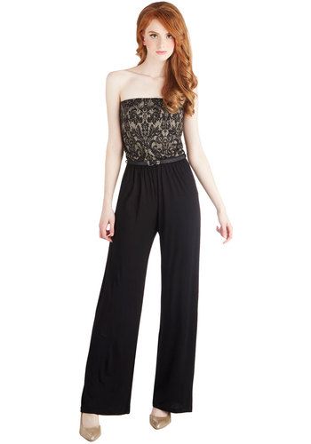 Debut and Night Jumpsuit - Long, Knit, Black, Belted, Cocktail, Girls Night Out, Wide Leg, Strapless, Better, Vintage Inspired, French / Victorian, Full length, Black, Strapless, Gifts Sale