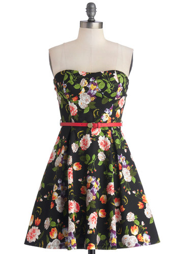 A Blossom a Day Dress - Floral, Belted, Daytime Party, A-line, Strapless, Good, Woven, Multi, Sweetheart, Short