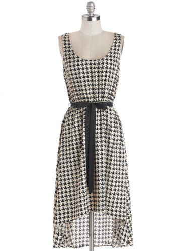 Front of House Dress - Tan / Cream, Black, Houndstooth, Belted, Casual, High-Low Hem, Tank top (2 thick straps), Good, Scoop, Mid-length, Woven