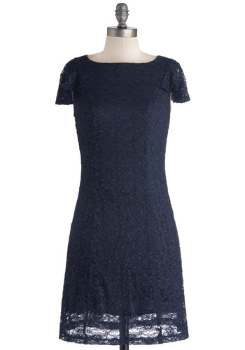Midnight Moon Dress - Sheer, Knit, Short, Blue, Solid, Lace, Party, Sheath / Shift, Cap Sleeves, Good, 20s, Lace