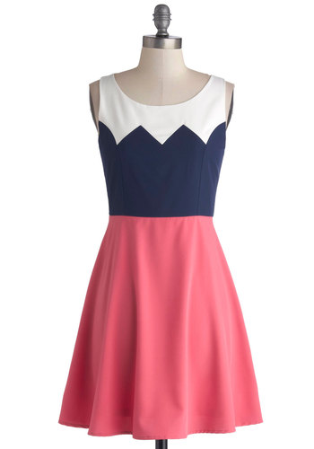 Aglow and Behold Dress - Short, Knit, Multi, Casual, A-line, Good, Scoop, Blue, Pink, White, Colorblocking, Tank top (2 thick straps)