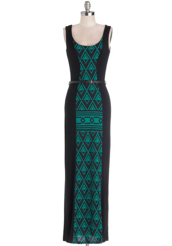 Saturday in Sedona Dress - Knit, Long, Black, Green, Print, Belted, Casual, Maxi, Tank top (2 thick straps), Good, Scoop