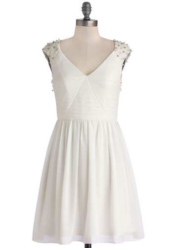 Always the Lady Dress - White, Solid, Pearls, Rhinestones, A-line, Cap Sleeves, Better, V Neck, Chiffon, Woven, Mid-length, Bride, Party, Holiday Party, Wedding
