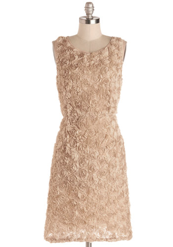 Florist to the Famous Dress by Pink Martini - Cream, Solid, Cocktail, Shift, Better, Chiffon, Sheer, Knit, Woven, Mid-length, Flower, Party, Bride, Scoop, Wedding, Bridesmaid