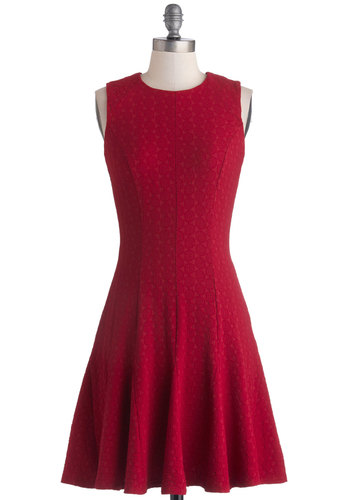 Lucky Lady Dress in Wine by Closet - Fit & Flare, Sleeveless, Better, Scoop, Red, Solid, Belted, Party, Exposed zipper, Woven, Mid-length, Valentine's