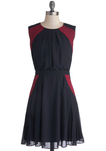 All Accent Pass Dress by Pink Martini - Blue, Red, Party, A-line, Better, Woven, Mid-length, Pleats, Pockets, Sleeveless, Crew