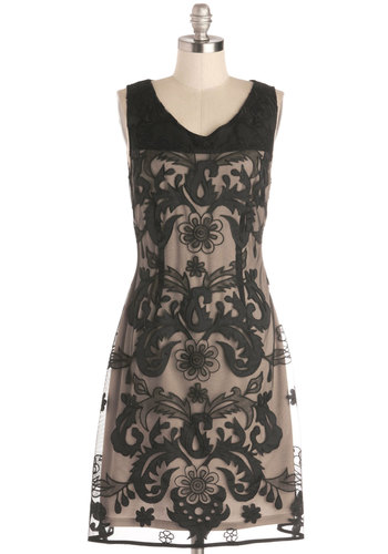 Aria Under the Stars Dress by Pink Martini - Black, Tan / Cream, Cocktail, A-line, Sleeveless, Better, Sheer, Woven, Mid-length, Print, Embroidery, Party, Vintage Inspired, 30s, 20s