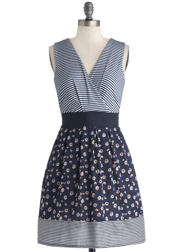 Daisy Shade of Winter Dress - Blue, Stripes, Floral, Casual, A-line, Sleeveless, Better, V Neck, Jersey, Knit, Woven, Mid-length, White