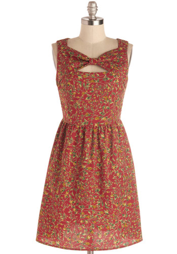 Wildflower Gathering Dress - Floral, Bows, Casual, A-line, Better, Woven, Mid-length, Multi, Red, Green, Cutout, Sleeveless