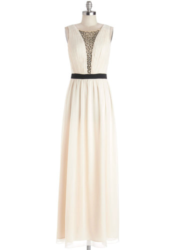 Cascading Champagne Dress - Cream, Rhinestones, Special Occasion, Prom, Maxi, Sleeveless, Better, Scoop, Chiffon, Sheer, Woven, Long, Black, Bride, Wedding