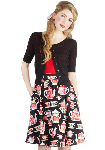 Good Afternoon Tea Skirt - Cotton, Woven, Mid-length, Novelty Print, Pockets, Daytime Party, A-line, Exclusives, Black, Black, Gifts Sale