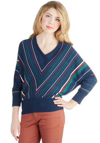 Hayride Tradition Sweater in Blue by Tulle Clothing - Mid-length, Knit, Blue, Chevron, Casual, Vintage Inspired, 80s, Long Sleeve, Better, V Neck, Blue, Long Sleeve, Multi, Gifts Sale