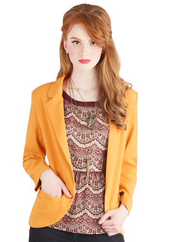Meet and Ingredient Blazer - Woven, Mid-length, Yellow, Solid, Pockets, Work, Menswear Inspired, Long Sleeve, Good, Collared, Yellow, Long Sleeve