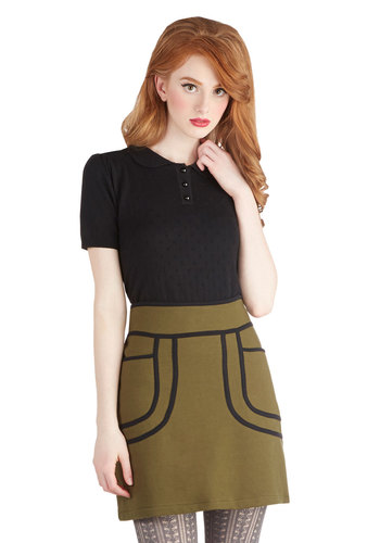 Olive a Sudden Skirt by Knitted Dove - Green, Pockets, Mini, Knit, Short, Trim, Vintage Inspired, 60s, Mod, Green, Statement