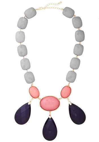 On the Bauble Necklace in Grey - Grey, Blue, Pink, Solid, Special Occasion, Statement, Gold, Good, Variation