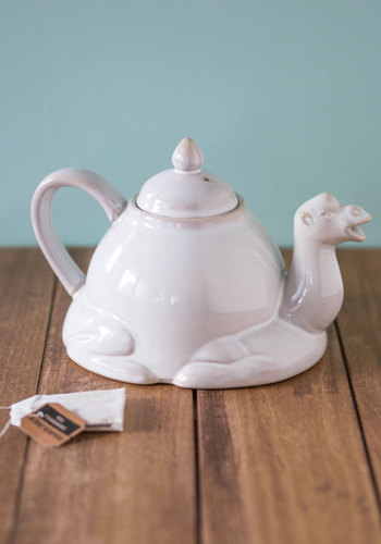 Room for Desert? Porcelain Teapot - White, Quirky, Good, Critters