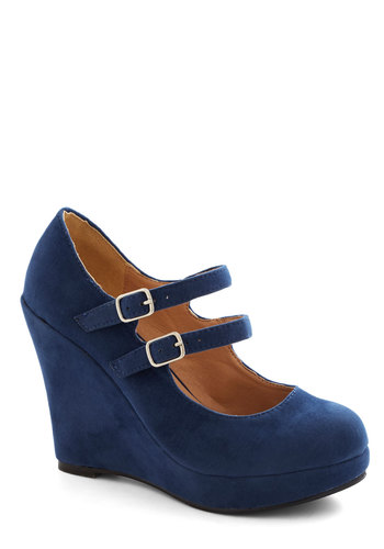 Host of All Wedge - High, Faux Leather, Blue, Solid, Buckles, Good, Wedge, Mary Jane