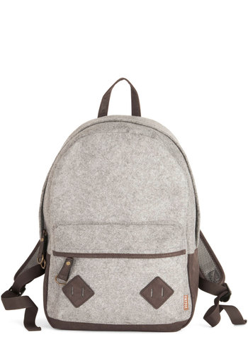 Print Library Backpack in Grey - Grey, Brown, Solid, Trim, Colorblocking, Scholastic/Collegiate, Good, Faux Leather