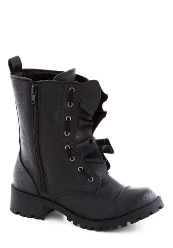Band on the Runway Boot - Low, Faux Leather, Black, Solid, Military, Good, Ruffles, Urban