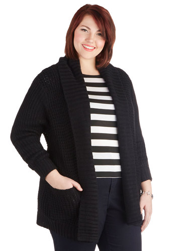 Versatile Voyage Cardigan in Plus Size - Knit, Black, Solid, Pockets, Long Sleeve