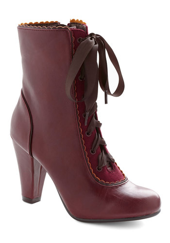 Flair-y Tale Boot in Burgundy by Chelsea Crew - Red, Scallops, Mid, Lace Up, Faux Leather, Solid, Vintage Inspired, Steampunk, French / Victorian