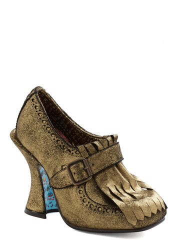 Sporran Affairs Heel by Irregular Choice - Gold, Buckles, Fringed, Luxe, Statement, French / Victorian, High, International Designer, Leather, Solid, Glitter