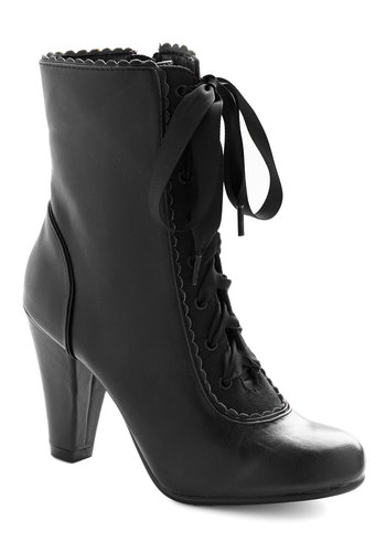 Flair-y Tale Boot in Black by Chelsea Crew - Mid, Faux Leather, Black, Solid, Vintage Inspired, French / Victorian, Steampunk, Lace Up, Scallops